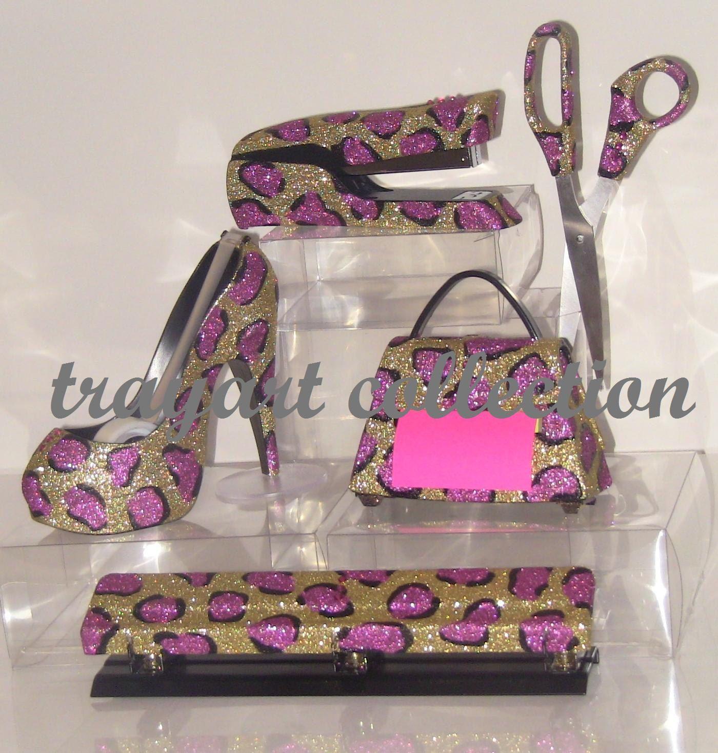 6pcs Pink Gold Leopard Set, Stapler, Scissors, High Heel Tape Dispenser,  Purse