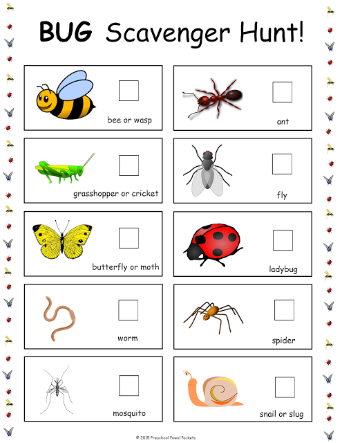 Free Bug Scavenger Hunt Insects Free Preschool And