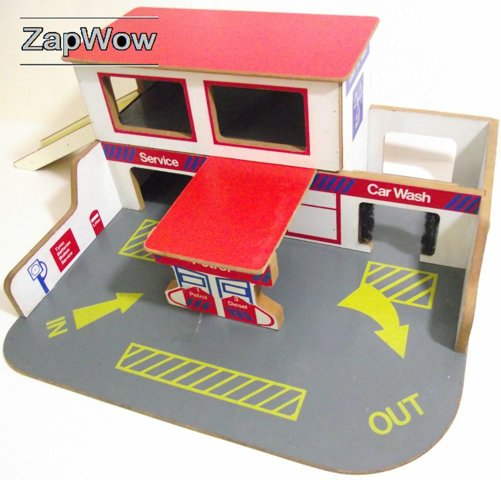 Vintage toy wooden garage late 1960s or early 1970s. Has