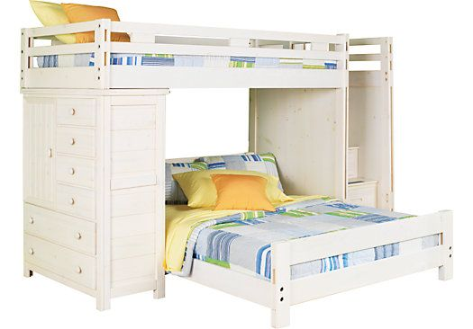 Creekside White Wash Twin Full Step Bunk Bed W Chest Bunk Beds Loft Bed Bunk Beds With Stairs