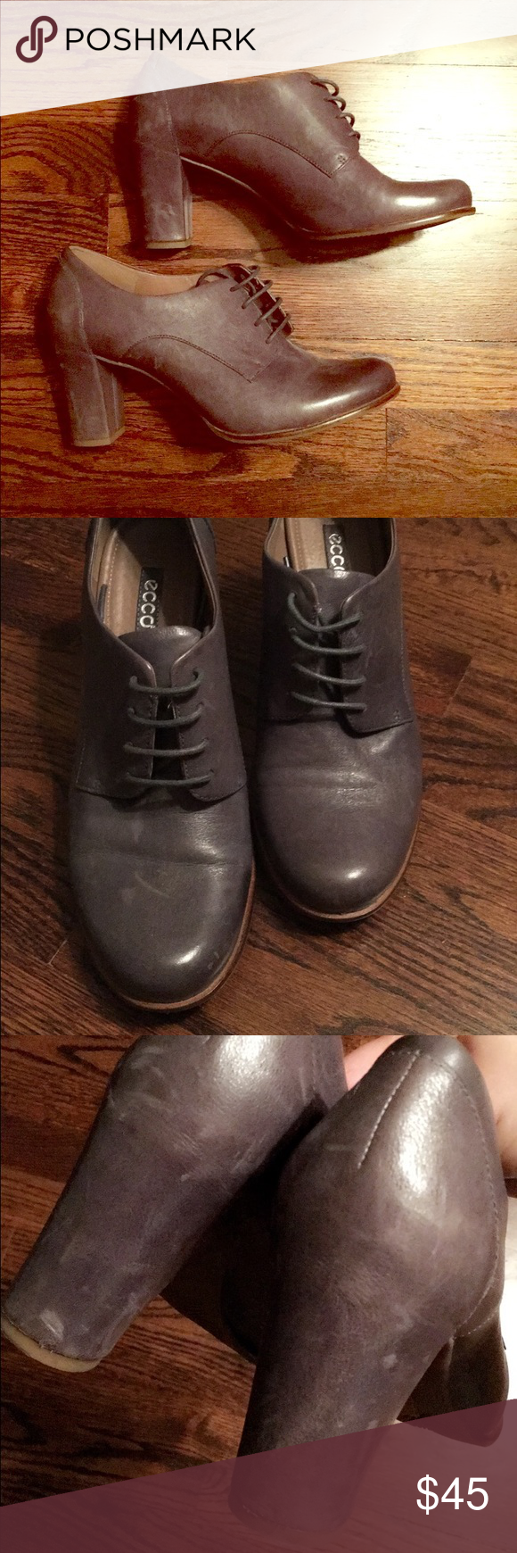 Supple Leather Grey/Blue Lace up Heels - Brand New Supple Leather Grey/Blue Lace up Heels - Brand New. Features a worn in leather look (intentional scratches etc). Chic, spot on trend, and timeless! Ecco Shoes Heels