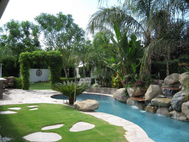 My Hubby And I Have A Very Narrow And Long Backyard 21 Feet From Patio Except For The Pool We Small Tropical Gardens Backyard Landscaping Pool Landscaping