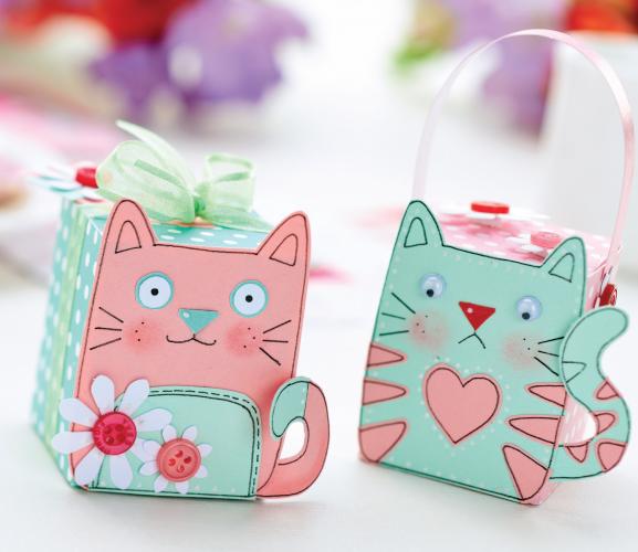 Kitten Papercraft Makes Free Craft Project Papercraft Crafts Beautiful Magazine Gift Box Template Free Gift Box Template Kittens Gifts