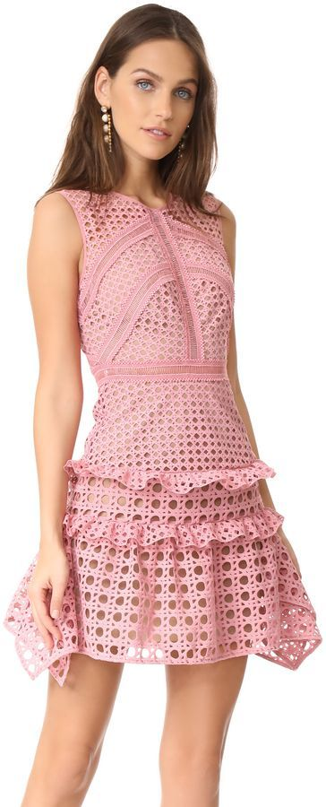 7d41d074060 Cute pink dress! Self Portrait Crosshatch Frill Mini Dress  affiliate link
