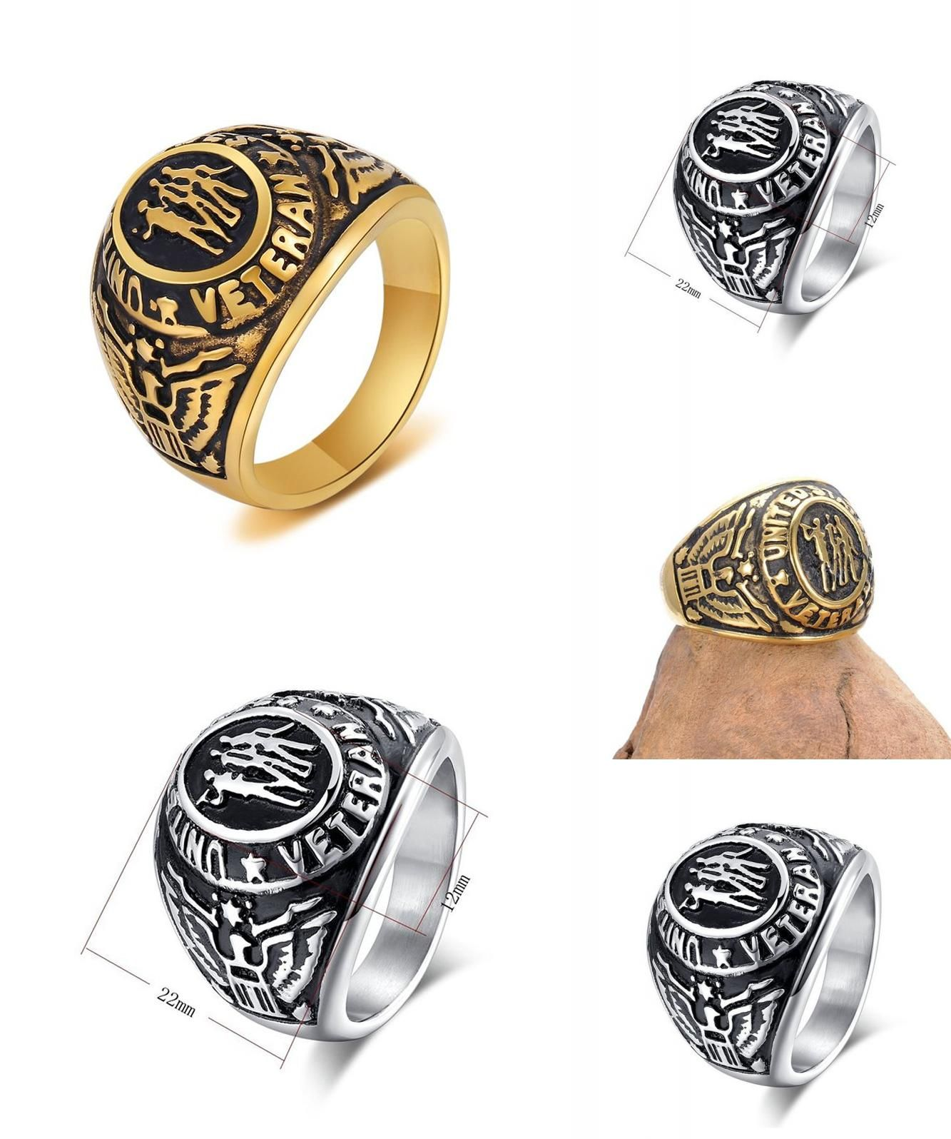 ring steel gift rings mens military collections us com products stainless veterans hood army