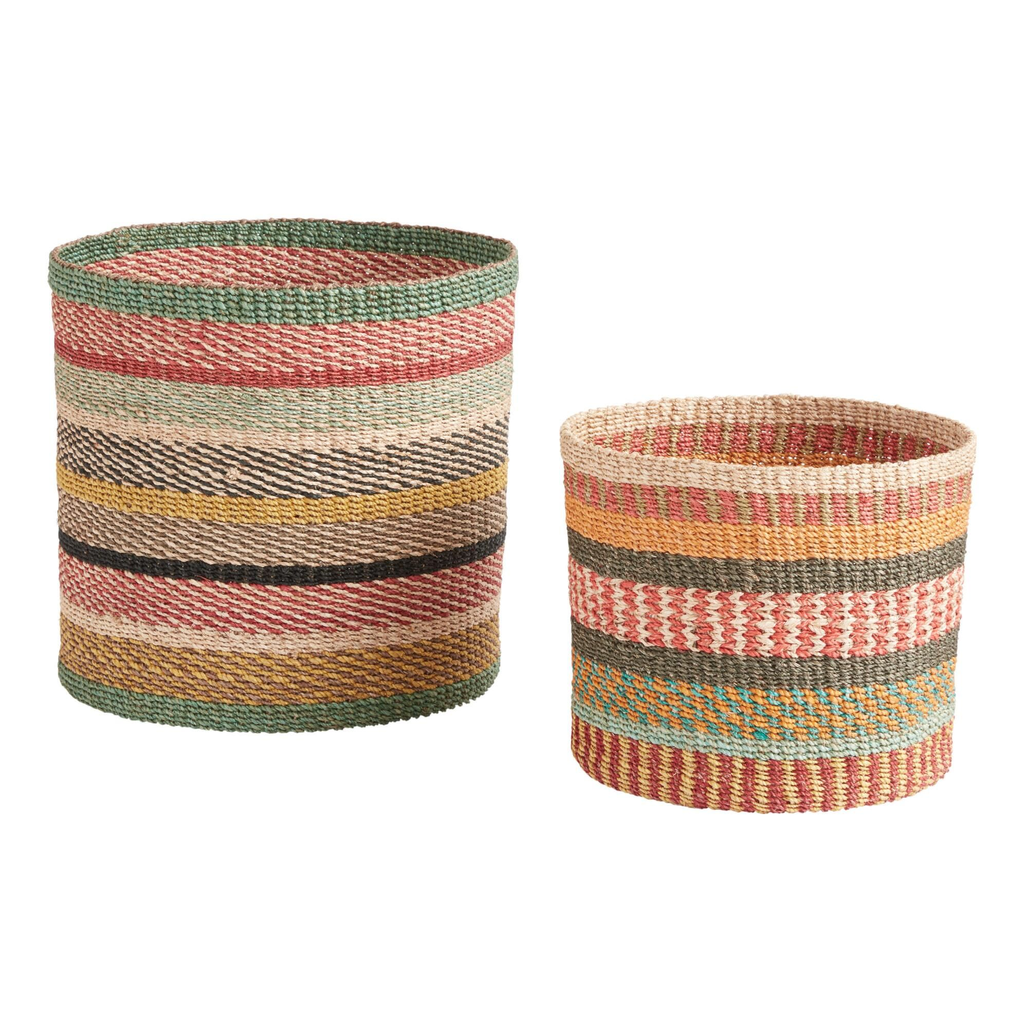 We Re Huge Fans Of This Colorful Round Basket That S Coiled By Hand Using Dyed Abaca Rope For Flair That S Unique Basket And Crate Basket Weaving Summer Decor
