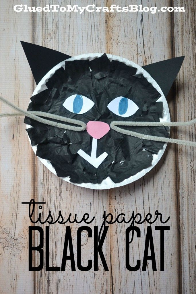 Tissue Paper Black Cat - Kid Craft #halloweencraftsfortoddlers