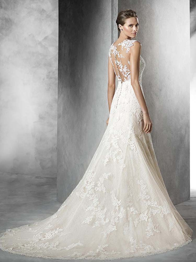 Pronovias Pladie A Fit And Flare Gown With Delicate Lace Illusion Back Wedding Dress Devon Cornwall Plymouth Exeter PrudenceGowns
