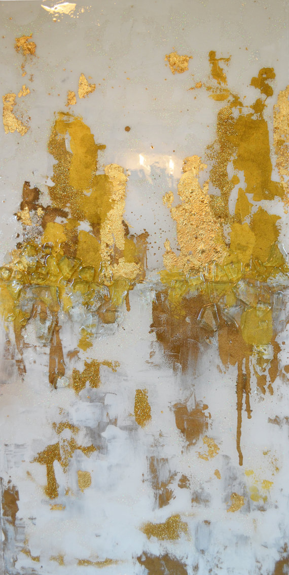 Sold!!!! Acrylic Abstract Art Large Canvas Painting White, Gold ...