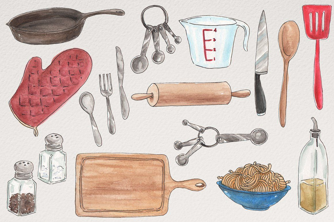 Watercolor Kitchen Illustrations Food Art Painting Illustration