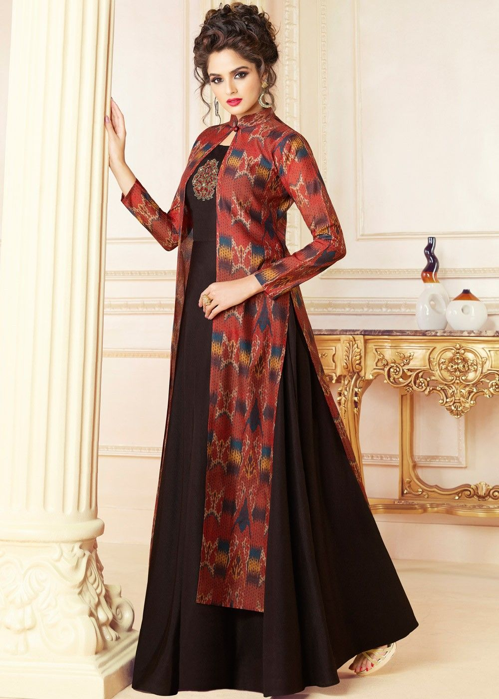 9b93f9d9d839 Black Indo Western Maxi Dress With Jacket in 2019 | Fashion | Jacket ...