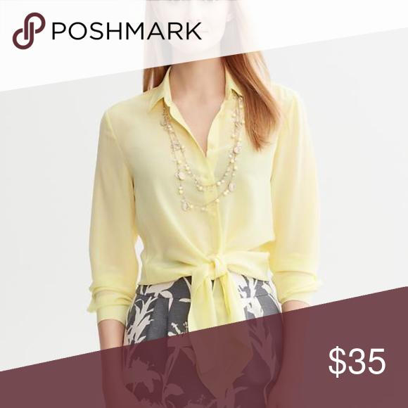 073ef134b4a4d9 Banana Republic Silk Tie Front Blouse Gorgeous Light Silk with button  closure