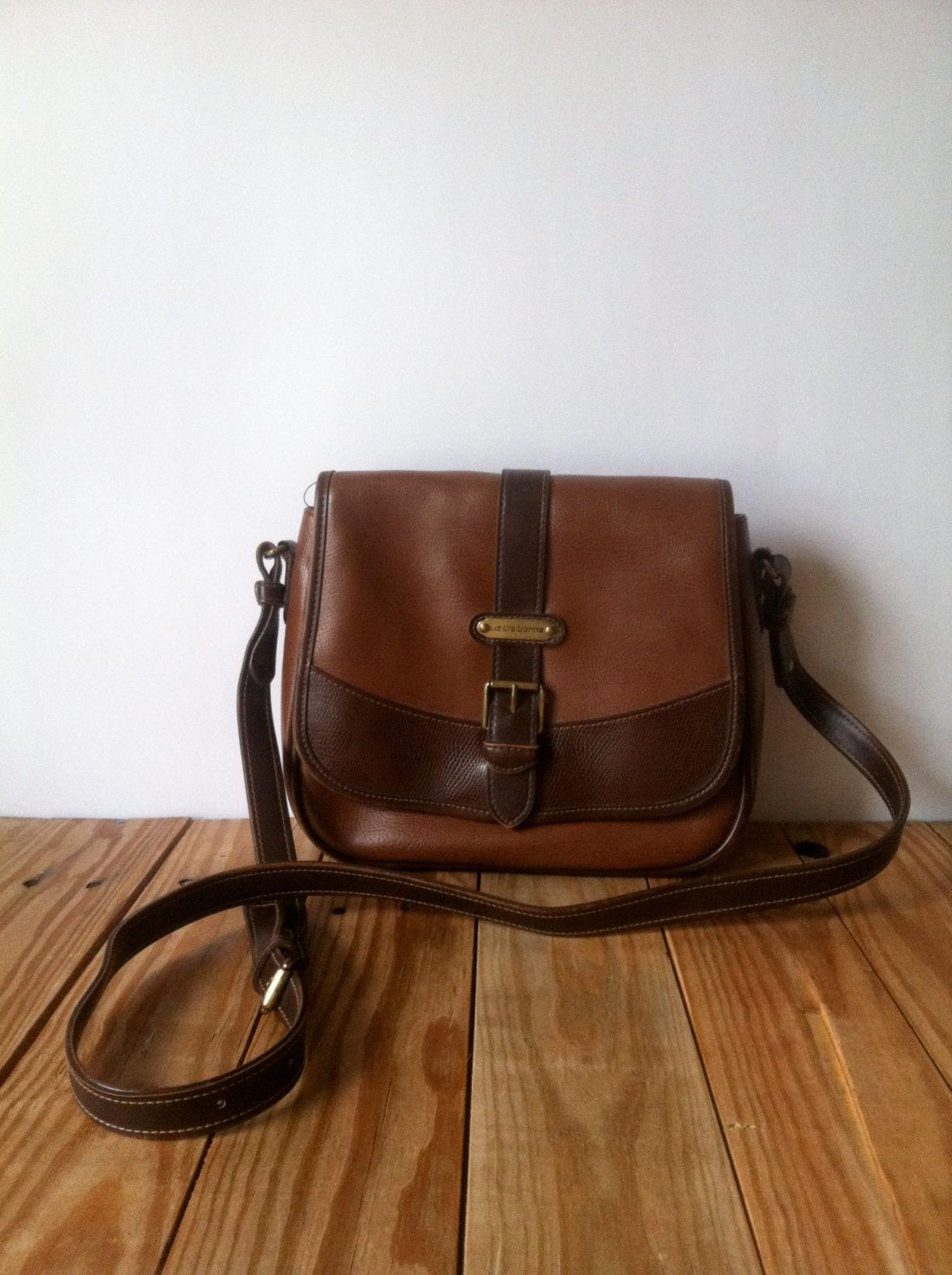 Genuine Leather Purse - Vintage Earthy Simple Rustic Liz Claiborne Shoulder  Bag Cross Body Handbag Brown   Tan via Etsy. 1098fa792fcdc