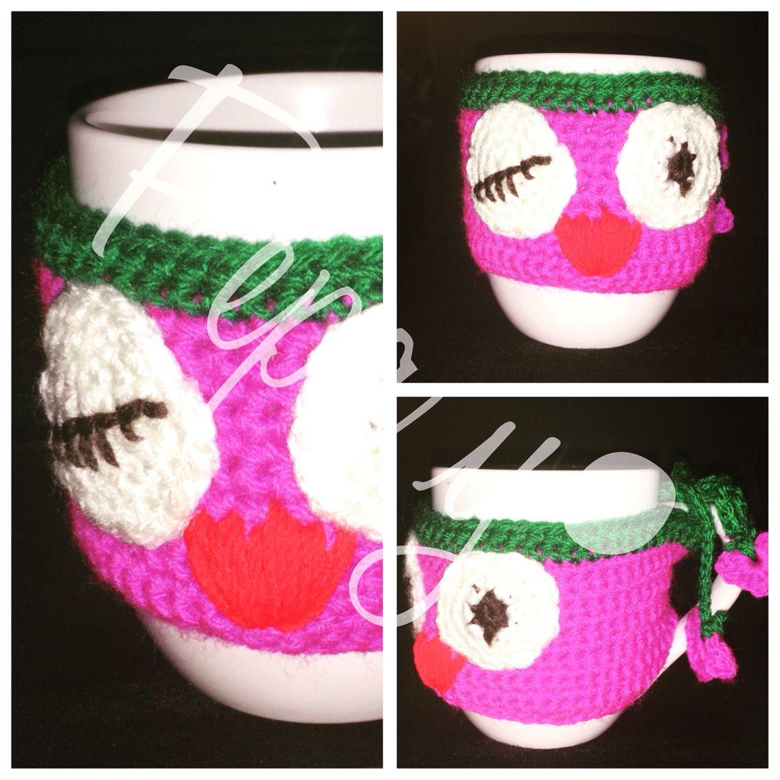 Funda para taza hecha en crochet. Patrón gratis en blog thebluuroom ...