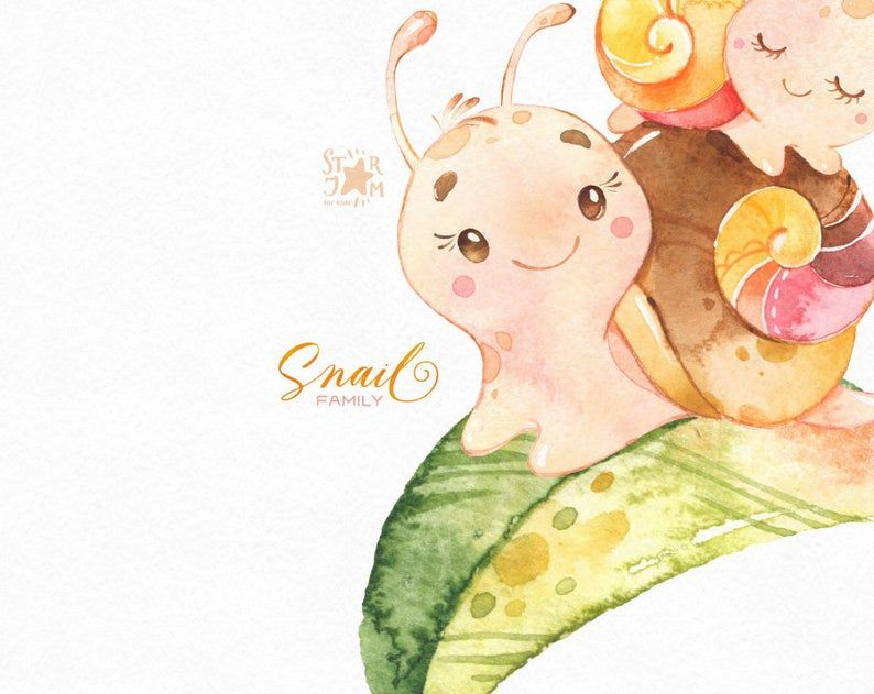 Snail Family Watercolor Little Animal Clipart Mother Floral Love Cute Boy Girl Funny Wreath Birthday Greeting Baby Baby Shower Animal Clipart Clip Art Cute Illustration