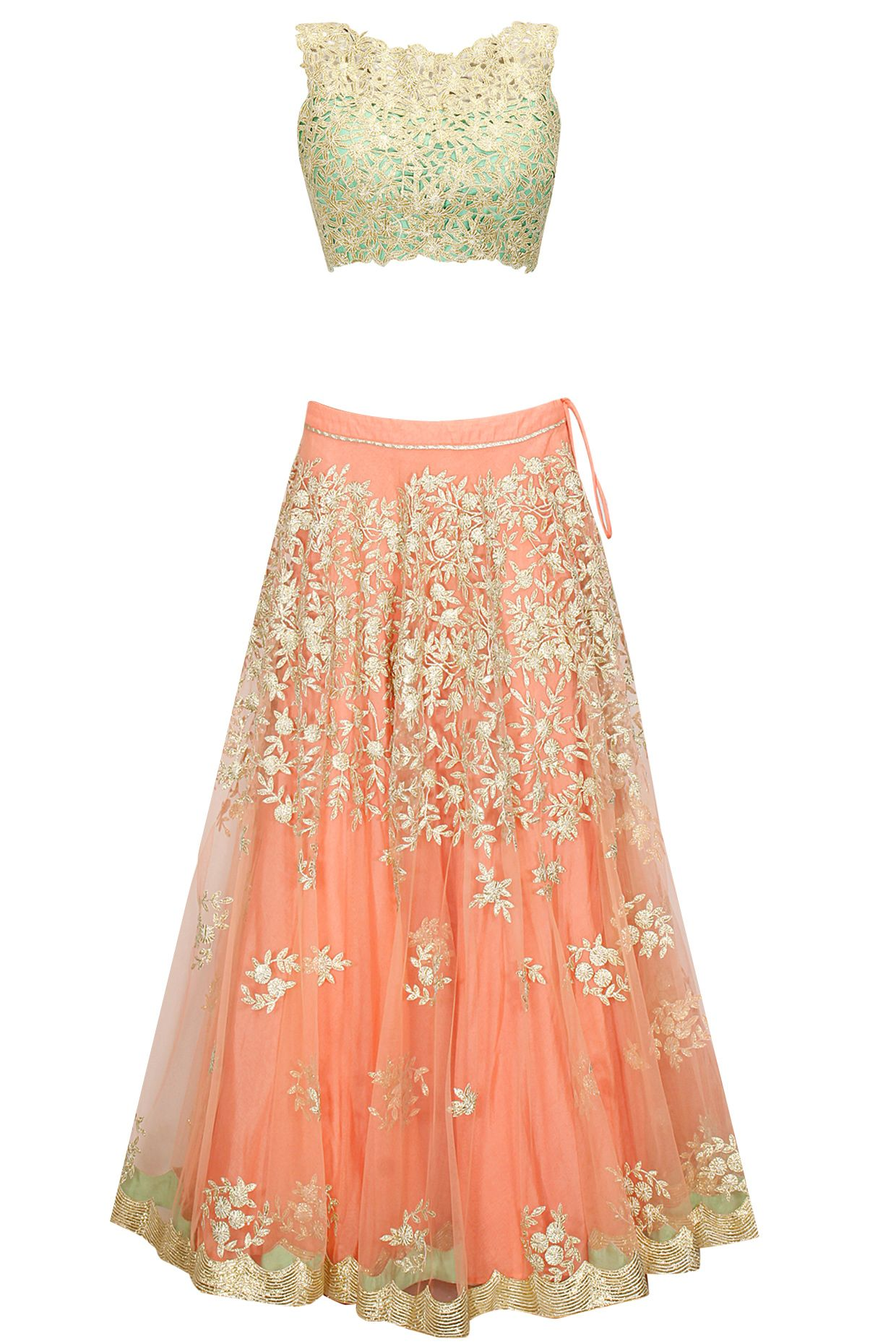 Peach embroidered lehenga with mint green cutwork blouse and yellow