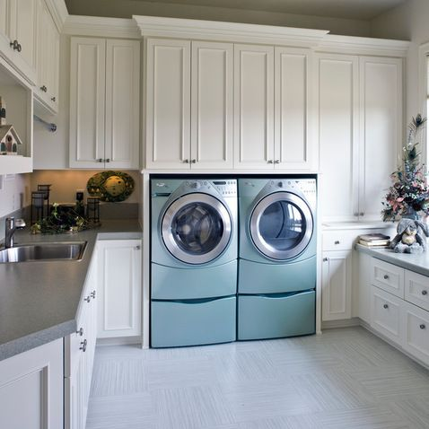 Upper Cabinet Depth Flush With Washer U0026 Dryer. Much Easier To Reach.  Laundry Room