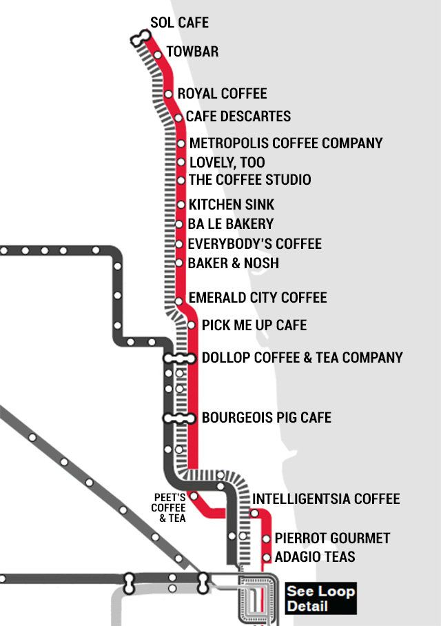We made a chicago l coffee map enjoy chicago and city best chicago coffee shops by cta public transit train stops publicscrutiny Gallery