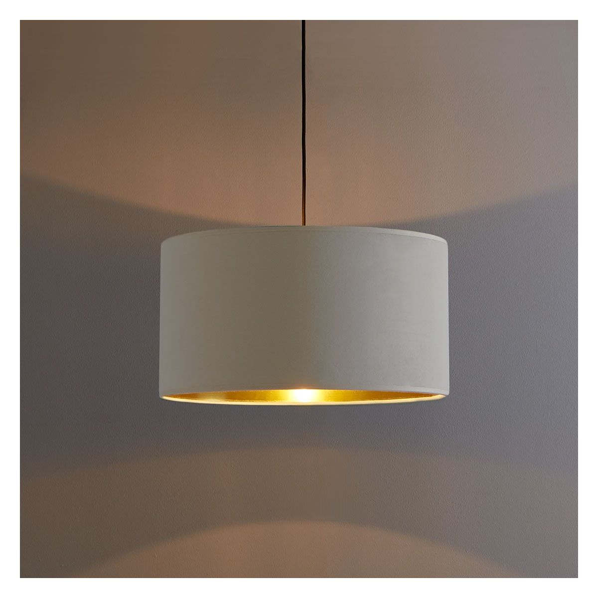 Tambor Cream Velvet Gold Lined Lampshade Dia 49cm In 2020 Ceiling Shades Gold Line Modern Contemporary Design