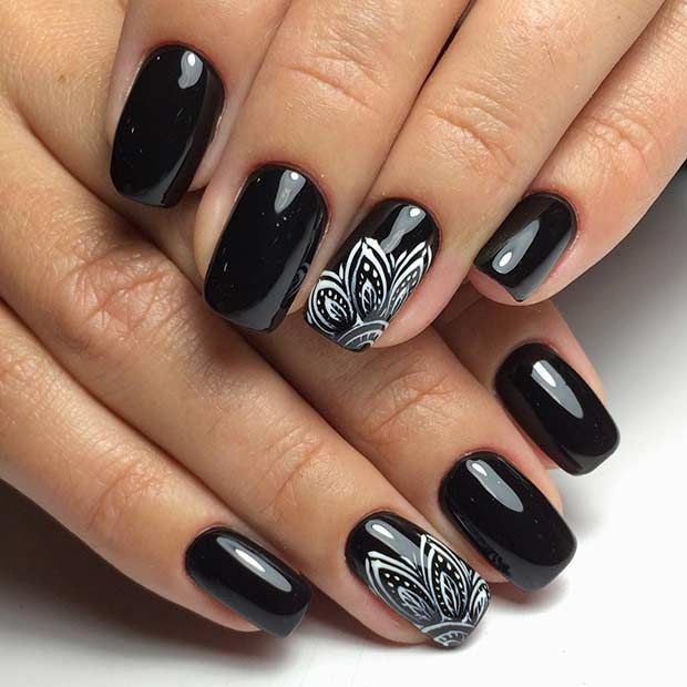 Black Nails + Henna Mandala Accent Nail - 25 Edgy Black Nail Designs Accent Nails, Black Nails And Hennas