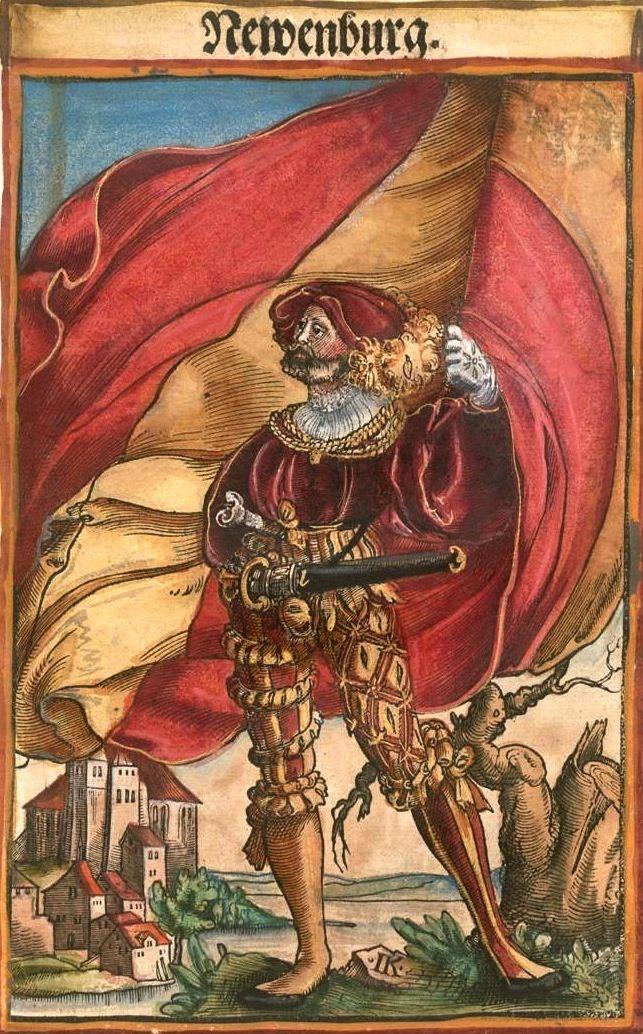 """Neuenburg am Rhein [Newenburg] (f°87) -- Koebel, Jacob, """"Wapen des heyligen römischen Reichs teutscher Nation"""", Franckfurth am Main, 1545 [BSB Ms. Rar. 2155]"""