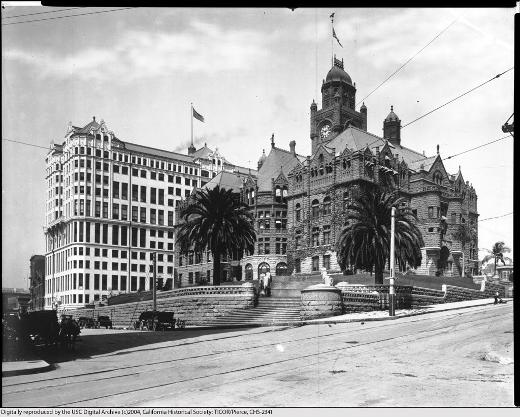 Exterior View Of The Los Angeles County Court House And Hall Of Records C C Pierce Ca 1917 Los Angeles County Los Angeles Exterior