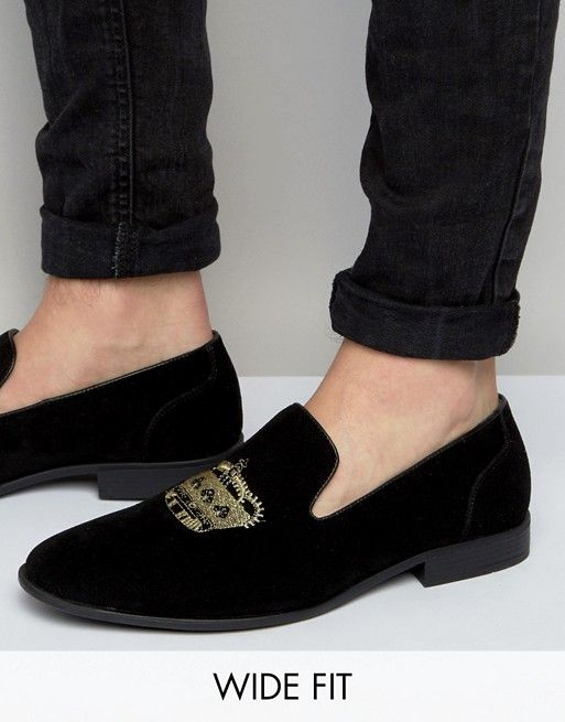 4c825d779410a Wide Fit Loafers In Black Faux Suede With Crown Embroidery | asos ...