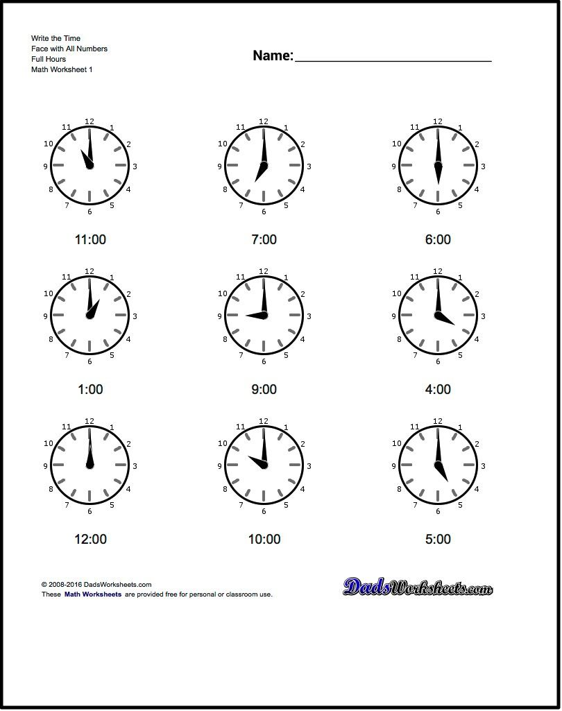 hight resolution of This section contains worksheets for telling analog clock times at full  hour intervals