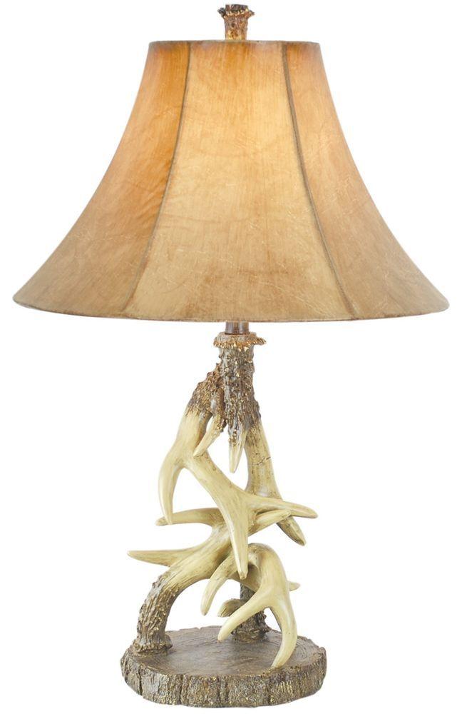 Deer Antler Table Lamp Rustic Cabin Lodge Wildlife Decor ...