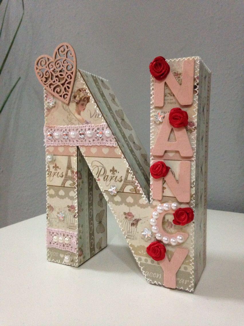 Letter scrap letra decorada n letras scrapbooking pinterest decoupage and mixed media - Letras decoradas scrap ...