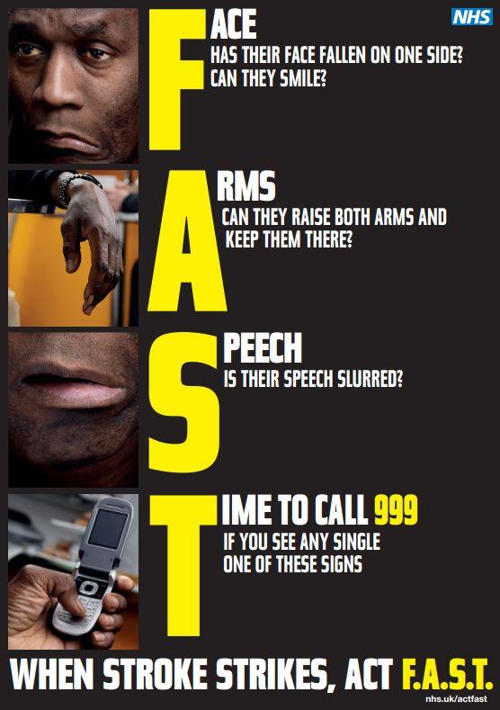 Fast Stroke Symptom Awareness Poster Stroke Awareness Awareness Campaign Awareness