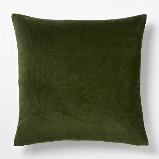 Velveteen Pillow Cover Moss West Elm Masculine