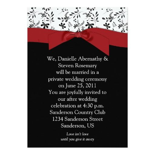 Black White Red Floral Post Wedding Invitation Black white red