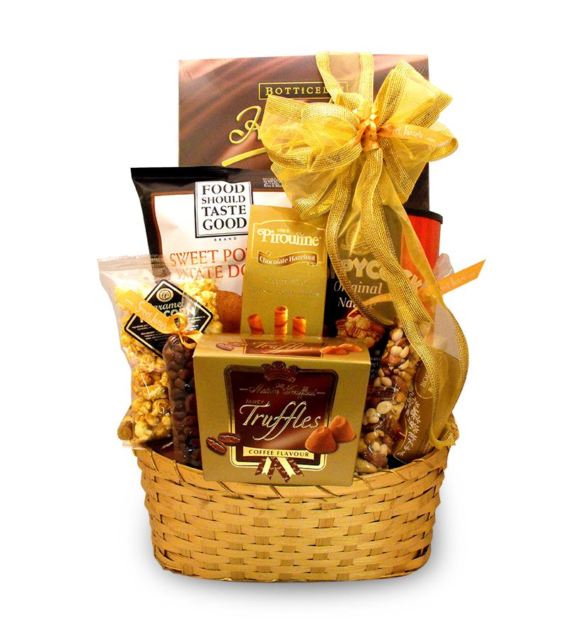 Gourmet Gold Basket | Unique christmas gift baskets, Best ...