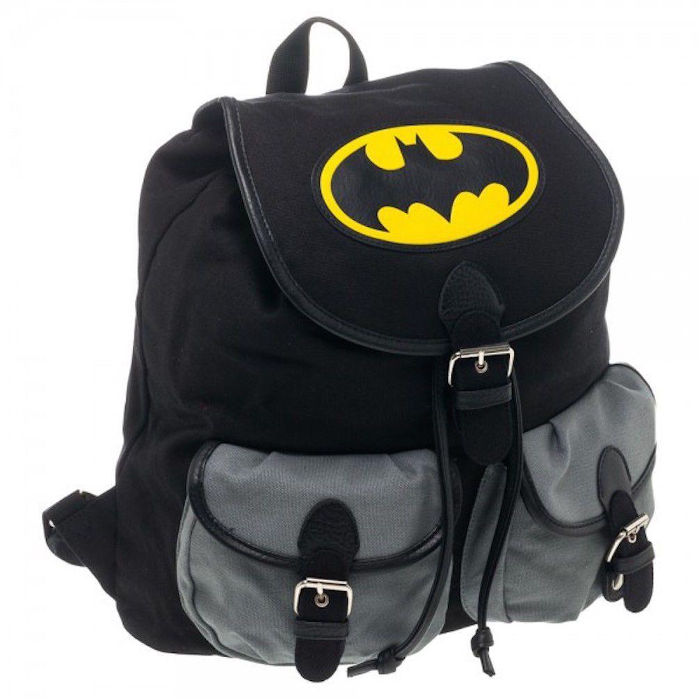 Dc Comics Batman Shield Black Knapsack Back Pack Book Bag