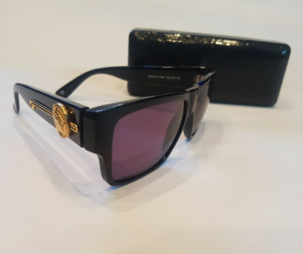 d6a594af94640 GIANNI VERSACE MOD 372 DM COL 852 BK Vintage Sonnennrille Sunglasses Rare!!