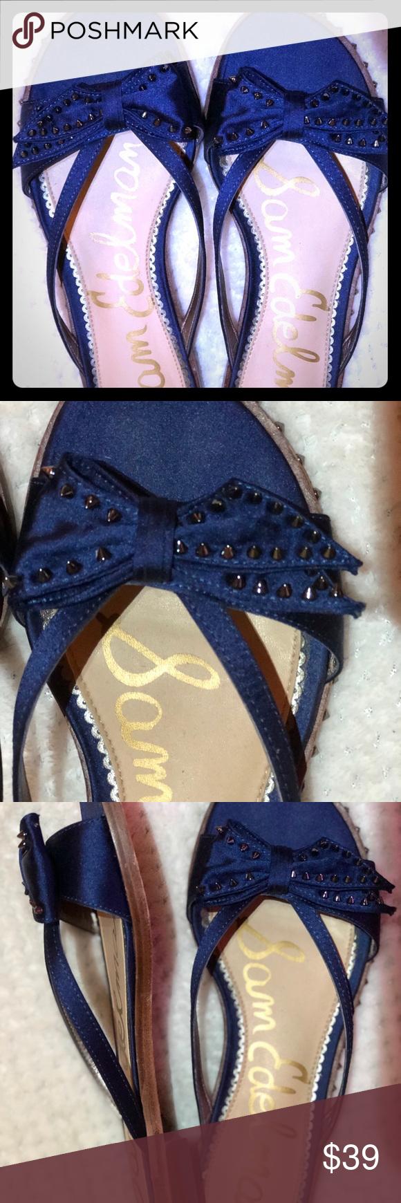 Embellished navy blue sandals by Sam