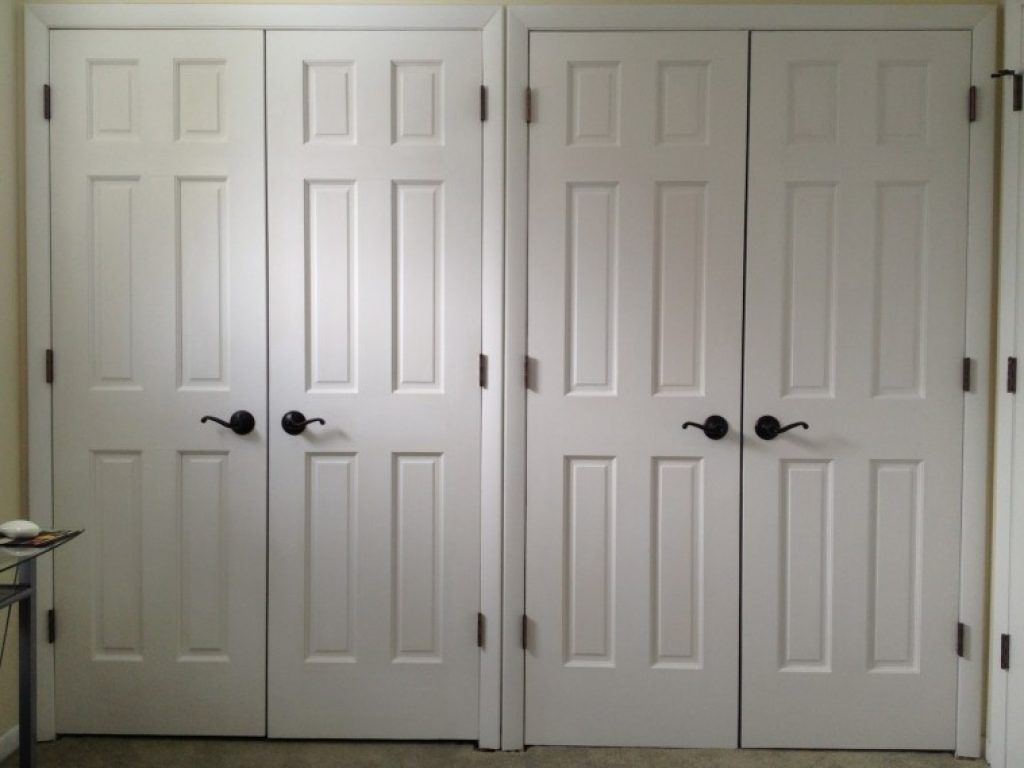 Awesome Double White Closet Swing Doors Combined Black Parisian Bronze Handle As Well Interior And Unique Door