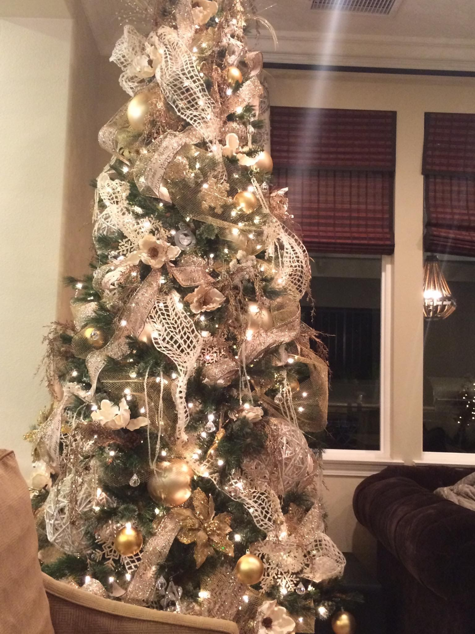 Elegant White Gold Bronze Christmas Tree Christmas Gold