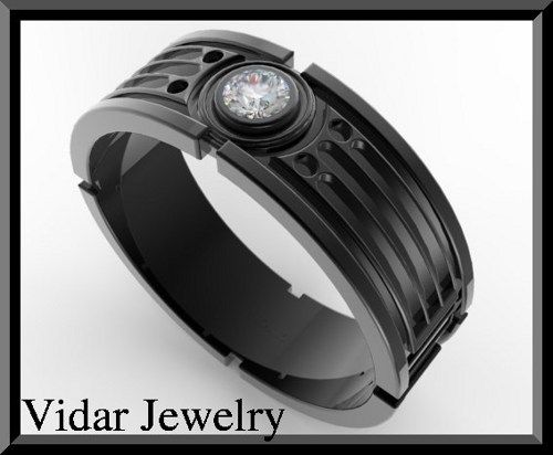 d4ad3bba5fa Star Wars 14k Black Gold Diamond Men s Wedding Ring If your man wants to  make statement then this Star Wars Wedding Band is for him!