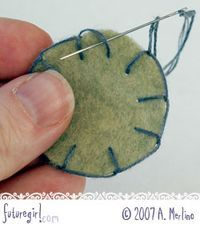 This step-by-step tutorial explains exactly how to use the blanket stitch to both sew two pieces of felt together and use it as an edging. There are special tips on how to go around corners, to stitch around circles, and what to do if you run out of floss in the middle. Each step is accompanied by a photo.