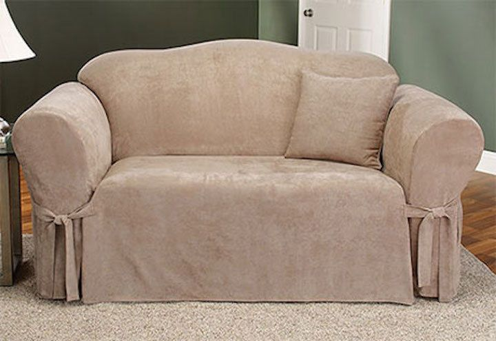 Details About Sure Fit Soft Suede Sofa Slipcover In Taupe For Box Style Seat Cushion One Piece Slipcovered Sofa Loveseat Slipcovers Loveseat Covers