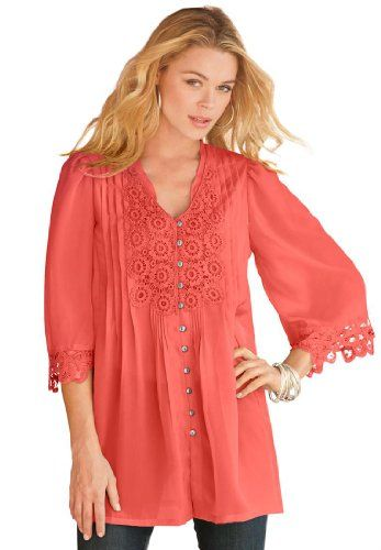 Save $15.00 on Denim 24/7 Women's Plus Size Juliet Lace Bigshirt; only $46.56