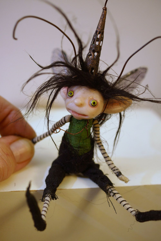 ooak poseable boy BUG pixie Fairy  ( #32 )  elf polymer clay art doll by DinkyDarlings by DinkyDarlings on Etsy