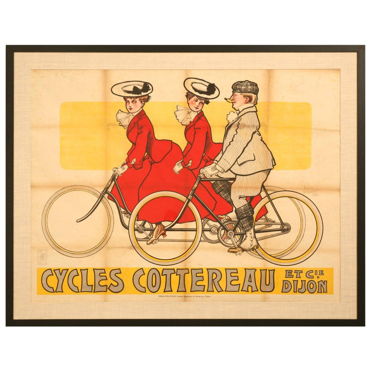 Bicycle Poster from Dijon, France circa 1905 by Rene Vincent ...