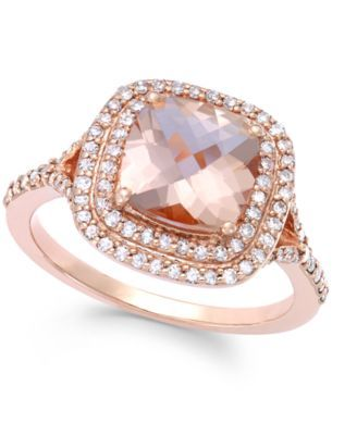 a09e6ded34aad1 Blush by EFFY Morganite (1 7 10 ct. t.w.) and Diamond (3 8 ct. t.w.) Ring  in 14k Rose Gold