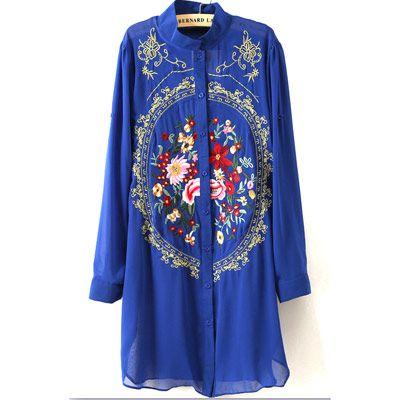 29,90EUR Bluse blau lang mit Blumenstickerei