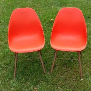 Vintage Retro Mid Century Modern Orange Plastic Chairs Eames Era | EBay