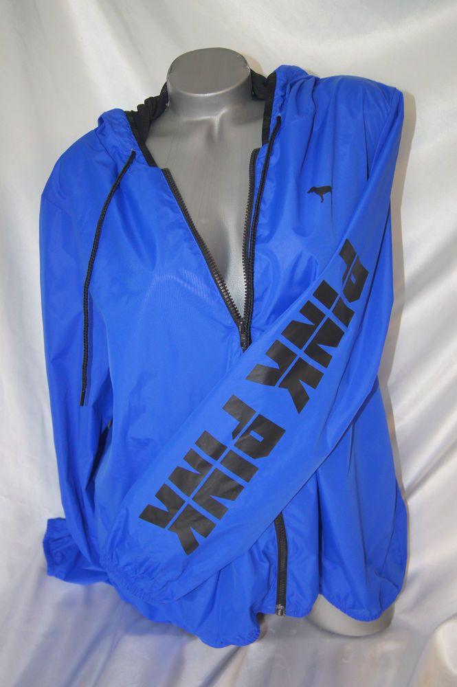 79a01a6f14e Victoria s Secret PINK Anorak Blue Windbreaker Jacket XS   S NWT   VictoriasSecret  Windbreaker