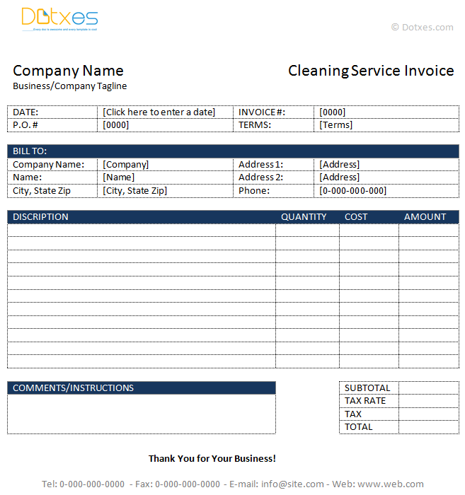 cleaning invoice sample